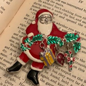 Vintage Santa Dangles Gift Candy Ornament Brooch